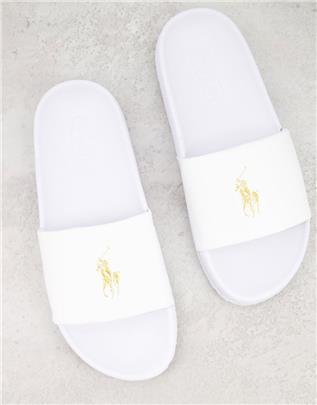 Polo Ralph Lauren - Slippers met logo in wit