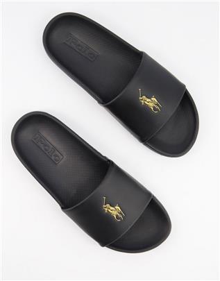 Polo Ralph Lauren - Slippers met logo in zwart