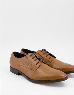 ASOS DESIGN - Derby schoenen in geelbruin imitatieleer