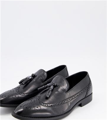 ASOS DESIGN - Brogue-loafers van zwart imitatieleer met brede pasvorm en kwastje