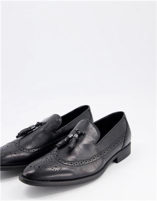 ASOS DESIGN - Brogue loafers met kwastje van zwart imitatieleer