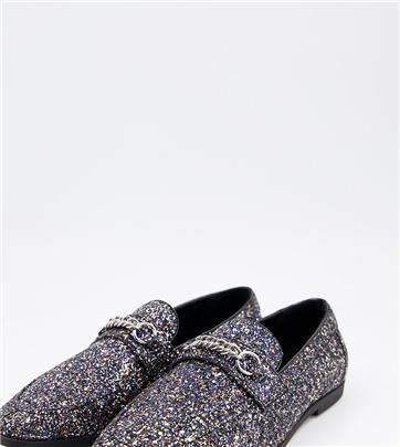 ASOS DESIGN Wide Fit - Loafers in zwarte glitter met trens-Zilver