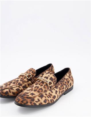ASOS DESIGN - Loafers met bruine luipaardprint en trens