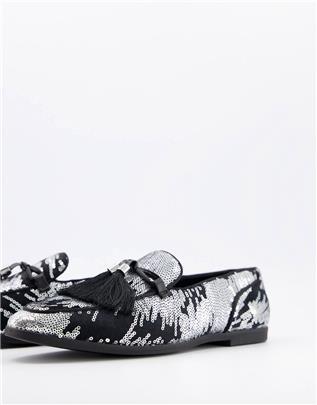 ASOS DESIGN - Loafers met zilveren vuurwerkpatroon en oversized kwastjes