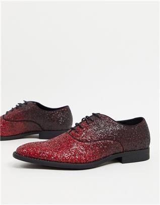 ASOS DESIGN - Nette veterschoenen met glitters in kleurverloop-Rood