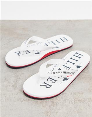 Tommy Hilfiger - Teenslippers met logo in wit