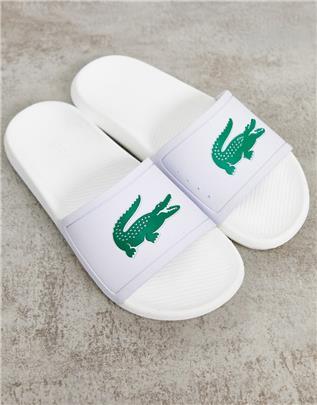 Lacoste - Slippers met krokodillenlogo in wit met groen