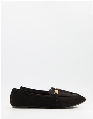 RAID - Lane - Platte schoenen met gouden kettinkje in zwart