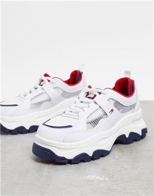 Tommy Hilfiger - Mesh sneakers met plateauzool in wit