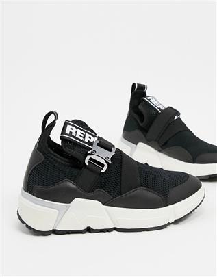 Replay - Sneakers met dikke zool in zwart-Grijs