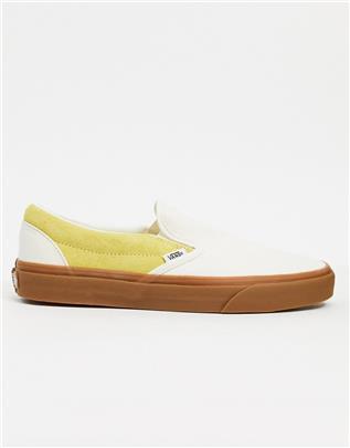 Vans Classic - Slip-On - Sneakers met zool van natuurlijk rubber in crème-Multikleur