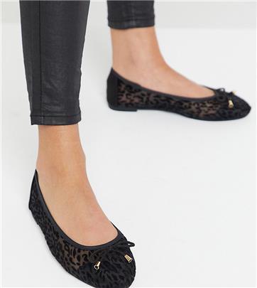 Simply Be - Wide Fit - Ballerina's met mesh detail en luipaardprint-Zwart