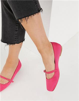 ASOS DESIGN - Lolly - Mary-Jane ballerina's in roze