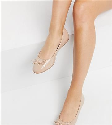 ASOS DESIGN Wide Fit - Lallie - Ballerina's in beige-Neutraal