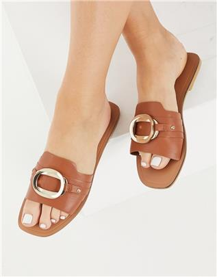 ASOS DESIGN - Nette leren sandalen met ringdetail in bruin