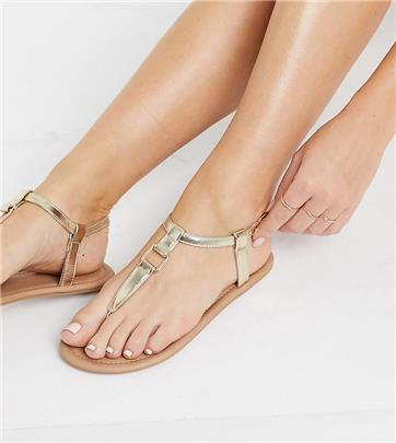 ASOS DESIGN Wide Fit - Fulfil - Platte sandalen met hardware in goud