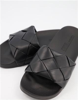 ASOS DESIGN - Finley - Geweven slippers in zwart