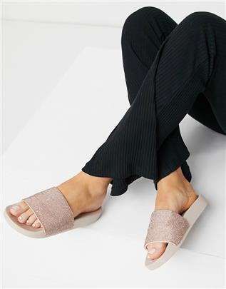 ASOS DESIGN - Farah - Versierde slippers in rose gold-Roze