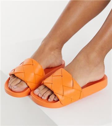 ASOS DESIGN - Finley - Slippers met brede pasvorm en geweven band in oranje