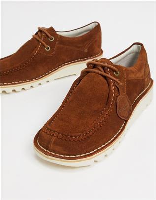 Kickers - Kick wall - Lage suède casual derby schoenen in bruin