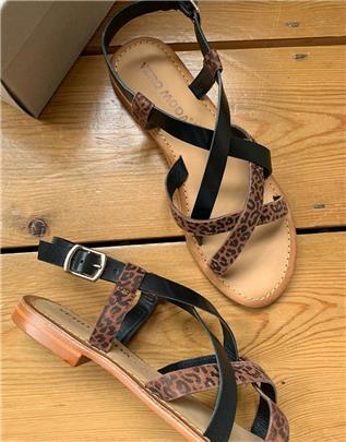 Vero Moda - Leren sandalen met bandjes in print-Multi
