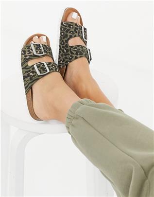 Vero Moda - Leren sandalen met 2 banden in dierenprint-Multi
