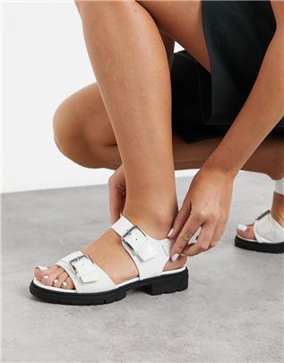 Vero Moda - Sandalen met gesp en dikke zool in wit