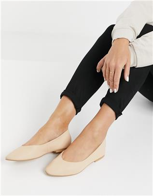Vero Moda - Leren ballerina's in bruin