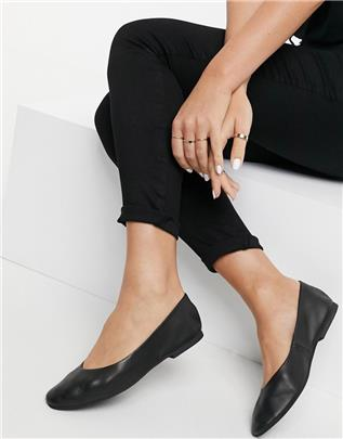 Vero Moda - Leren ballerina's in zwart