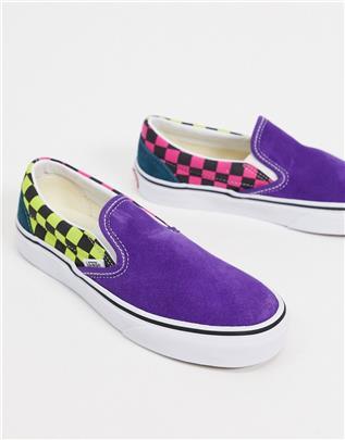 Vans Classic - Instapsneakers met ruitprint in paars