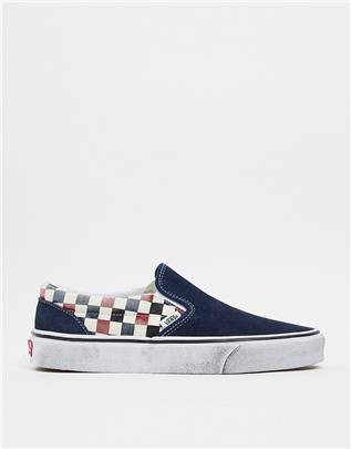 Vans Classic - Instapsneakers met verwassen ruitprint-Blauw