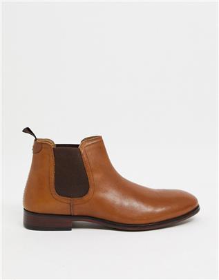 Red Tape - Chelsea boots van leer in bruin