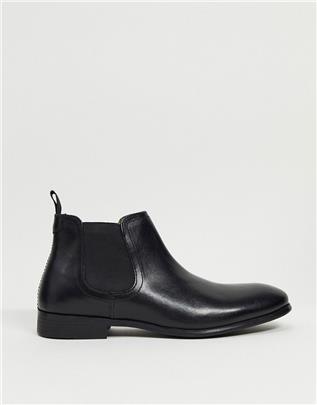 Red Tape - Leren chelsea boots in zwart