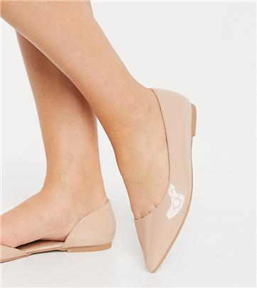 ASOS DESIGN - Virtue d'Orsay - Ballerina's met spitse neus en brede pasvorm in beige-Neutraal