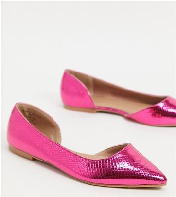 ASOS DESIGN - Virtue D'Orsay - Spitse ballerina's met brede pasvorm in metallic roze