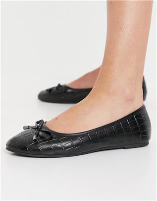 RAID - Emma - Platte ballerina's met krokodillenmotief in zwart