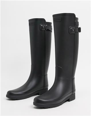 Hunter - Original - Elegante, hoge wellington-regenlaarzen met bandje aan de achterzijde in zwart
