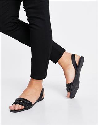 Qupid - Geweven platte sandalen met slingback in zwart