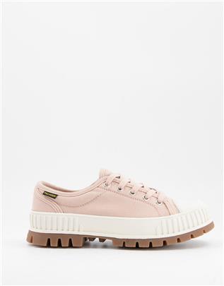 Palladium - Plshock - Sneakers met veters en dikke zool in wit-Roze