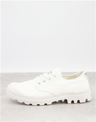 Palladium - Pampa - Casual sneakers van organisch katoen met veters in wit