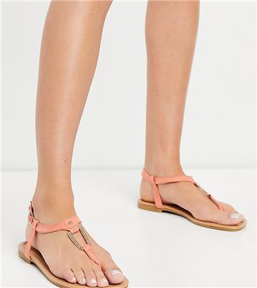 New Look Wide Fit - Platte sandalen met vierkante ring in koraalroze-Oranje