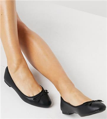 New Look Wide Fit - Platte ballerina's in zwart