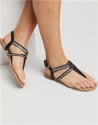 Call it Spring - Treanna - Versierde sandalen met T-band in zwart