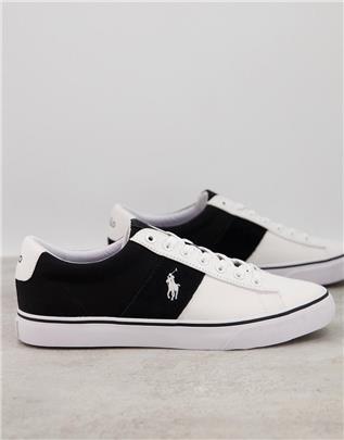 Polo Ralph Lauren - Sayer - Canvas sneakers in wit met kleurvlakken en ponylogo-Zwart