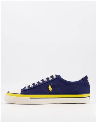 Polo Ralph Lauren - Canvas sneakers in marineblauw met ponylogo