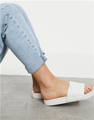 ASOS DESIGN - Finley - Geweven slippers in wit