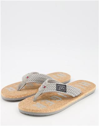 Tommy Hilfiger - Casual teenslippers van kurk in grijs