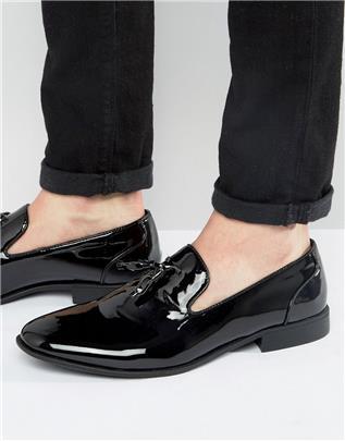 ASOS Design - Loafers met kwastjes in zwart lakleer