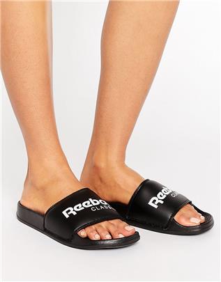 Reebok - Classic - Slippers met logo in zwart