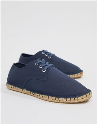 ASOS DESIGN - Derby espadrilles van marineblauw canvas